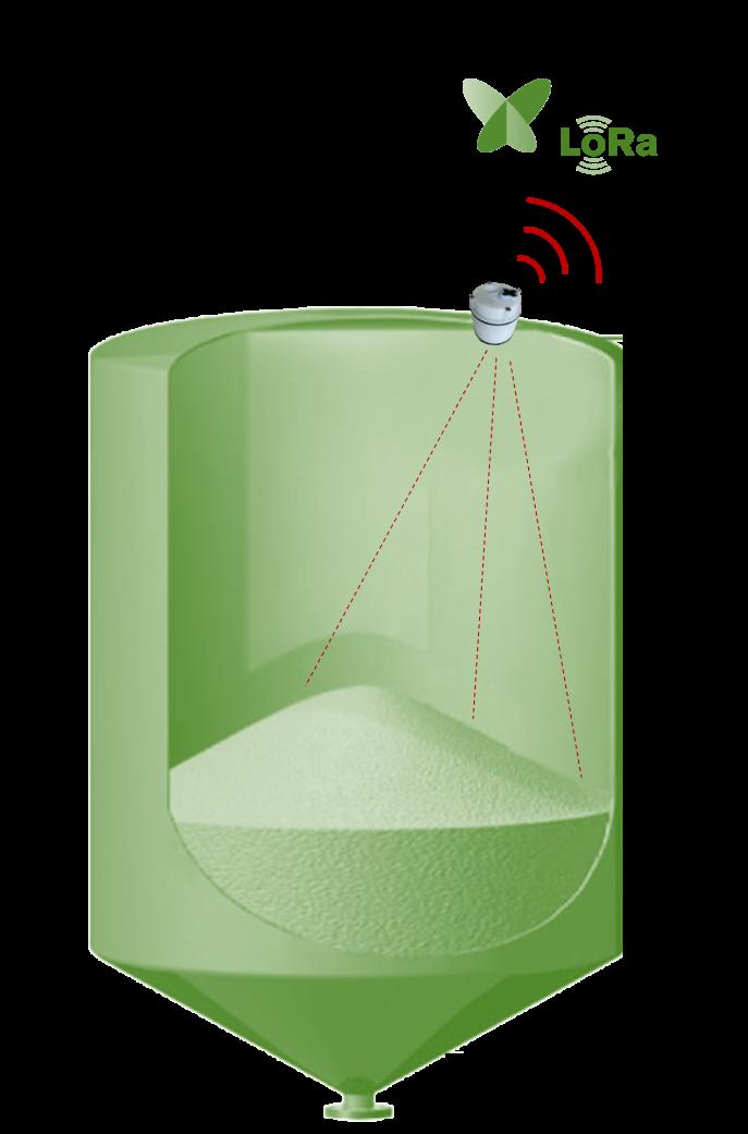 Capteur connecté niveau silo bunker cinterne 3D alimentation animale