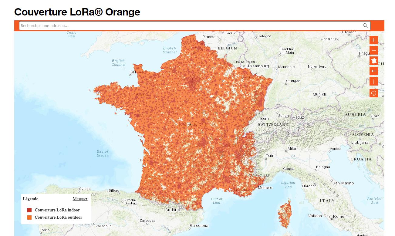 Couverture réseau Lora orange
